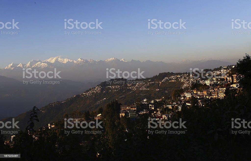Himalayan mountains are seen near Darjeeling, India royalty-free stock photo