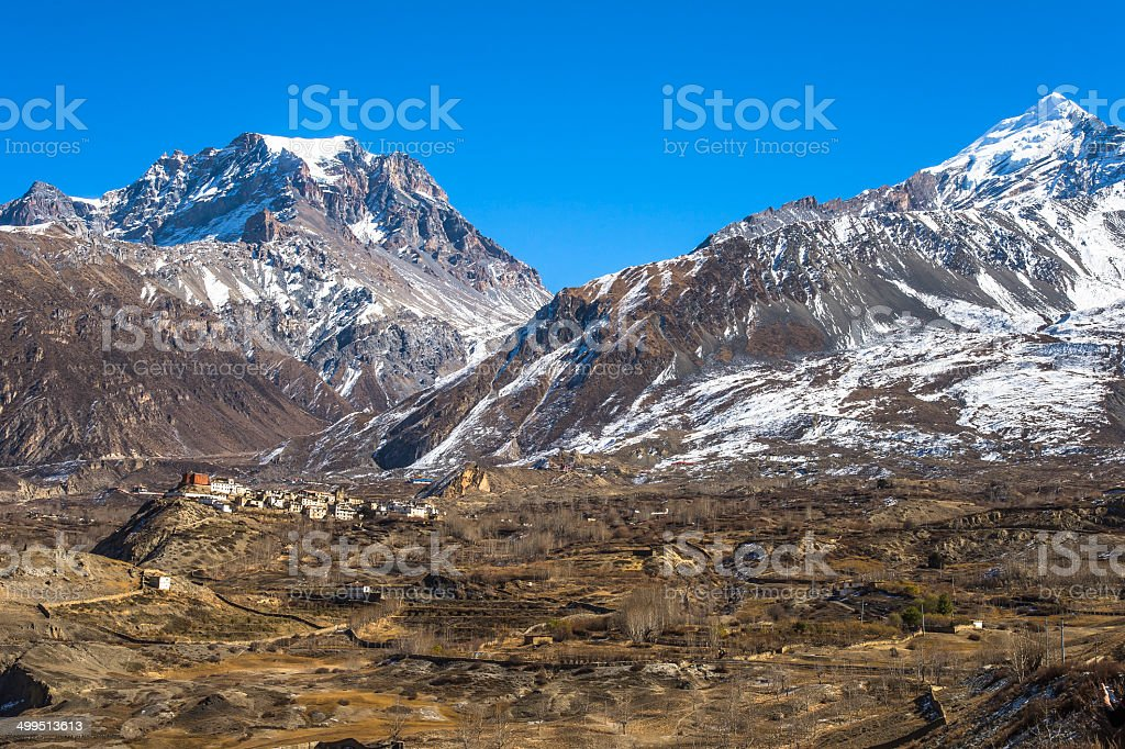Himalayan Mountains in Nepal stock photo