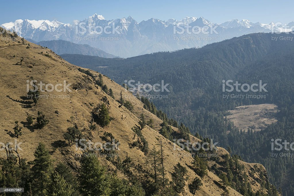 Himalayan mountains on the Everest Base Camp trek royalty-free stock photo
