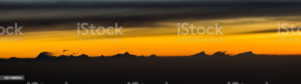 Himalayan peaks just before sunrise stock photo