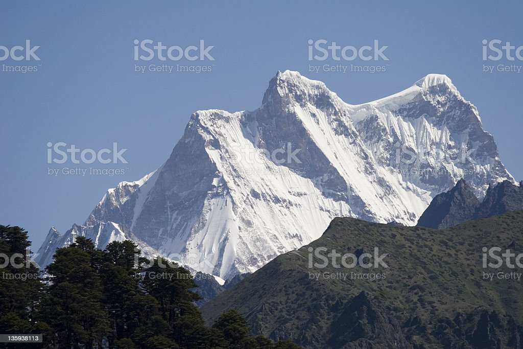 Himalayan peaks Masa Gang massif in Bhutan royalty-free stock photo