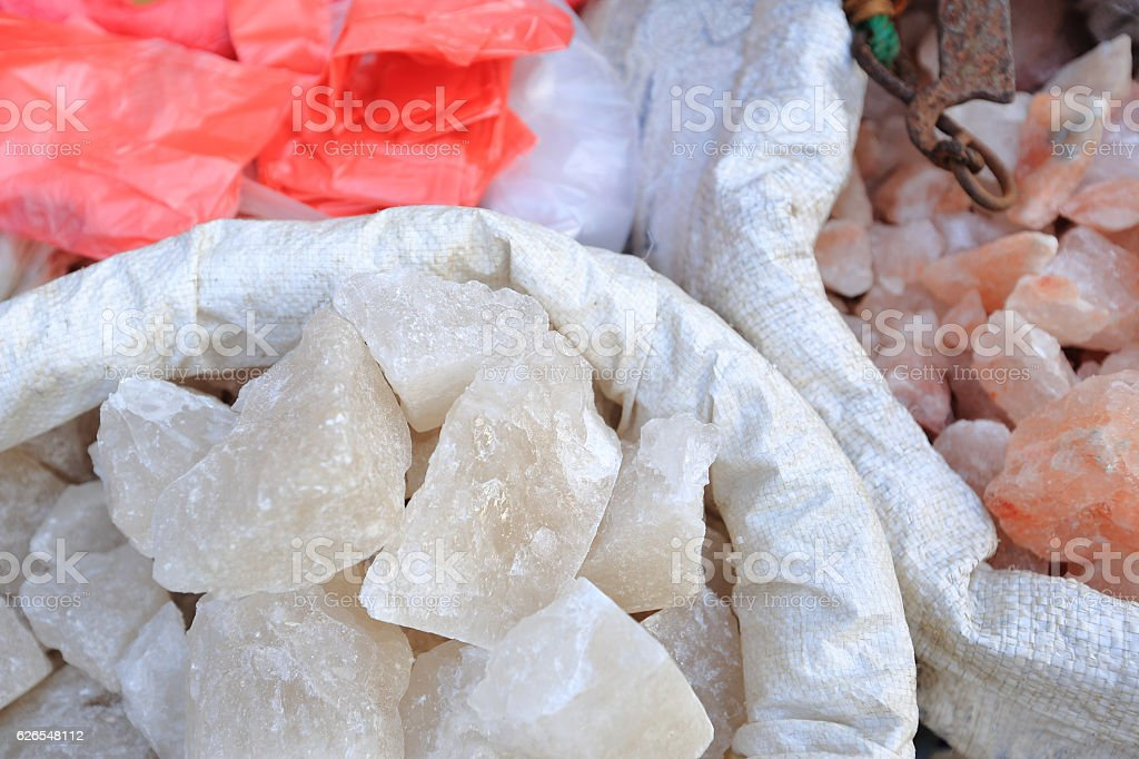 Himalayan pink crystal salt selling at street shop stock photo