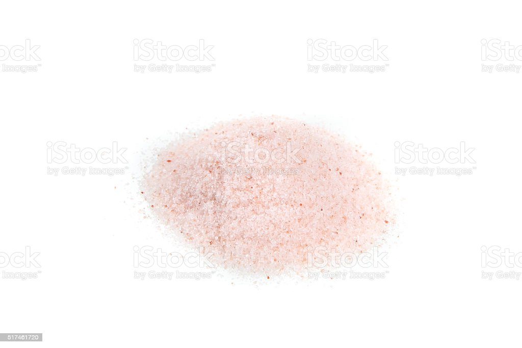 himalayan pink salt isolated in white background stock photo