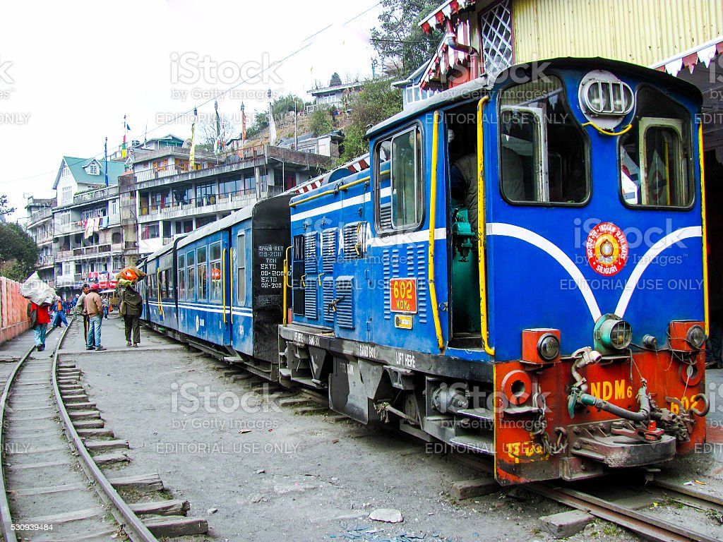 Himalayan railway toy train at Darjeeling station stock photo