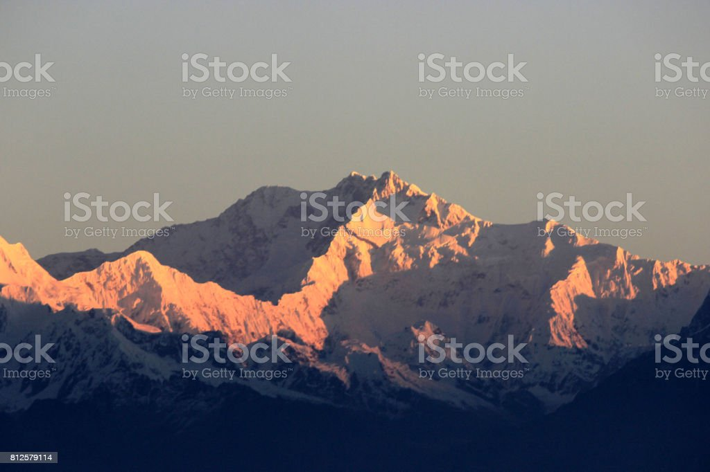 Himalayan range. kanchenjunga peak. stock photo