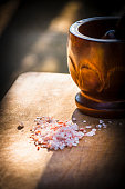Himalayan salt and the pestle to grind it