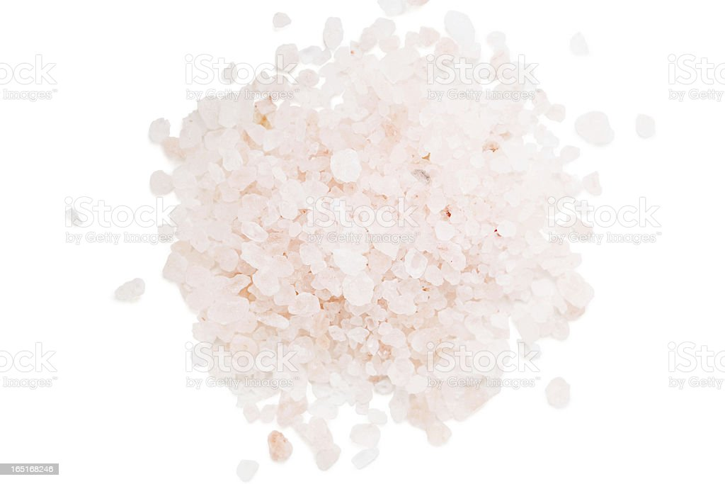 Himalayan salt flakes with a pinch of pink color stock photo