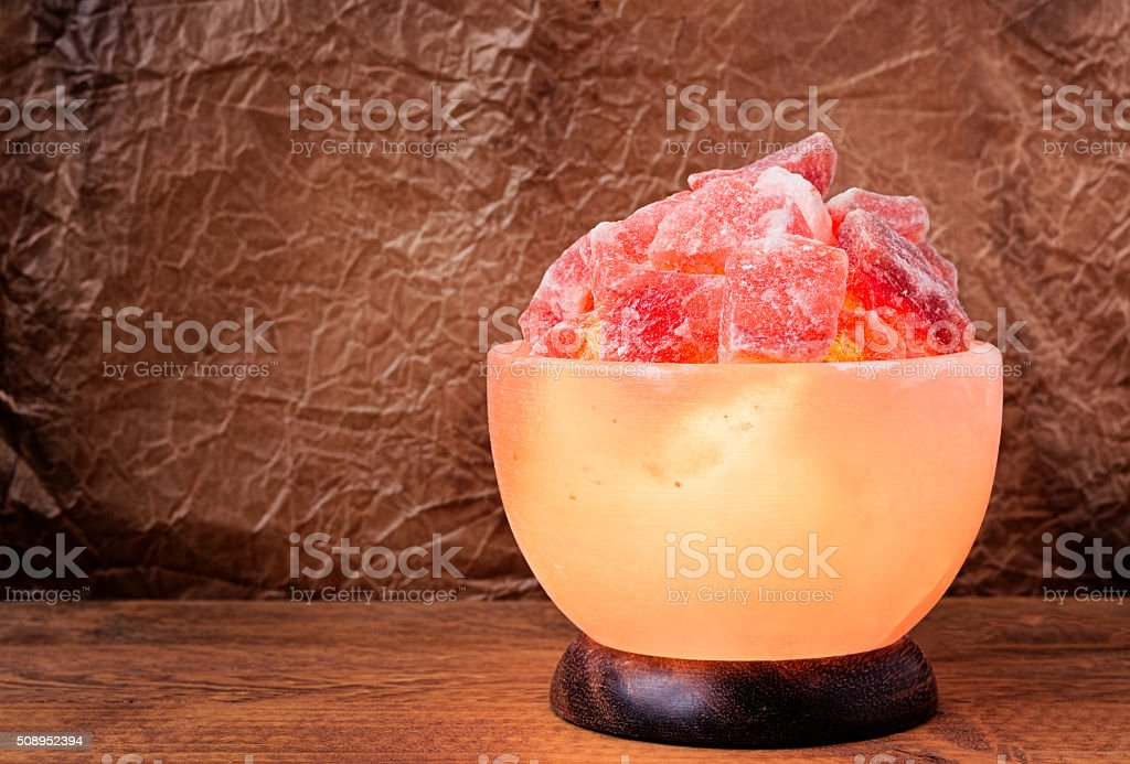 Himalayan Salt Lamp Turned On stock photo