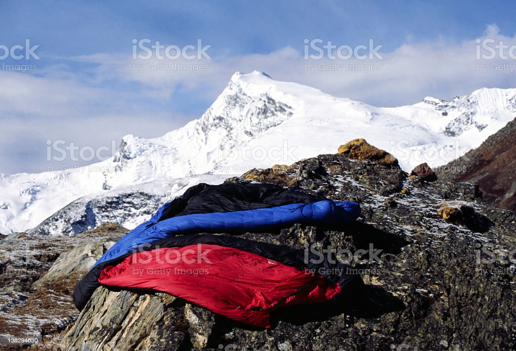 Himalayan sleeping bags stock photo