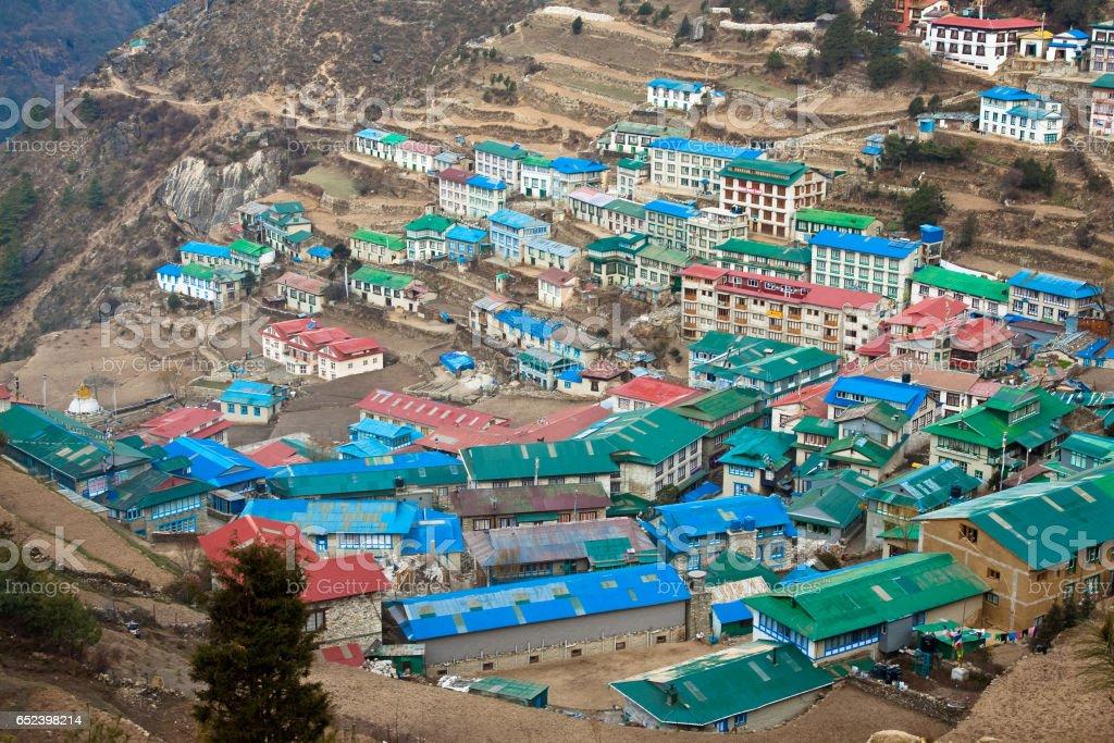 Himalayan village Namche Bazar stock photo