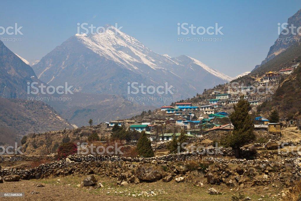 Himalayan village Thamo stock photo