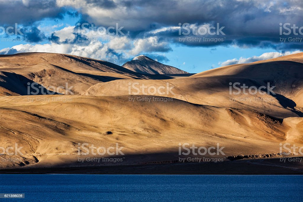 Himalayas and Lake Tso Moriri on sunset. Ladakh stock photo