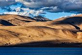 Himalayas and Lake Tso Moriri on sunset. Ladakh