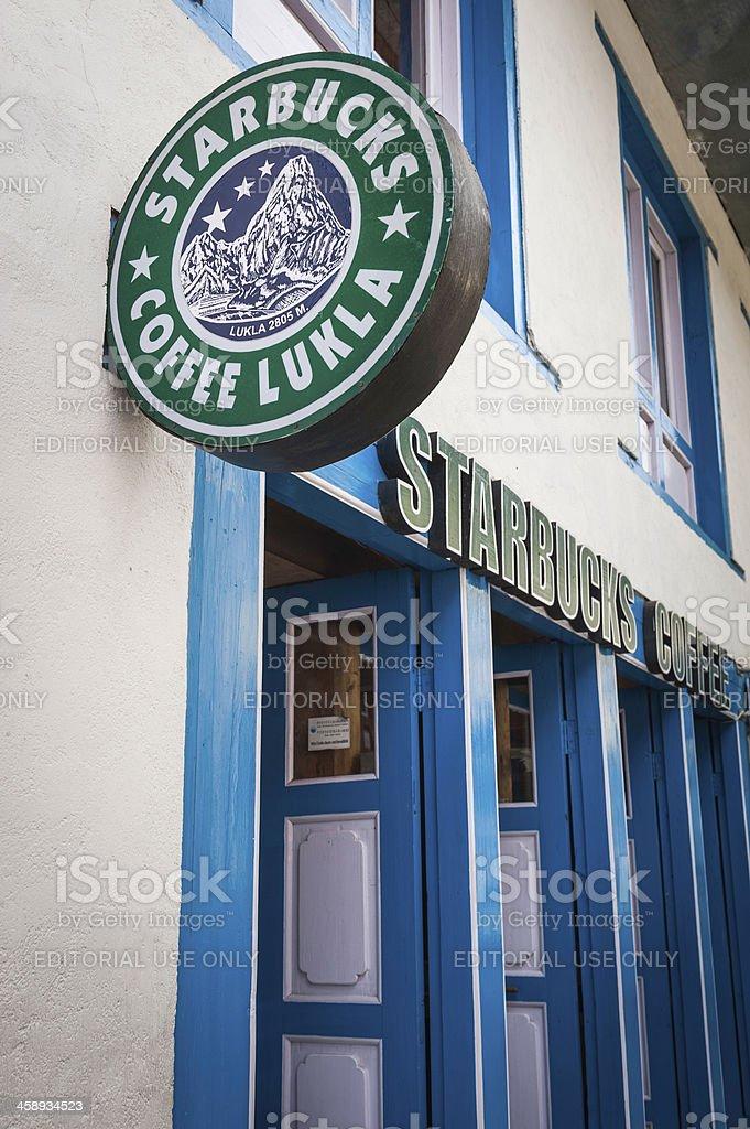 Himalayas fake Starbucks Coffee in Lukla Nepal royalty-free stock photo
