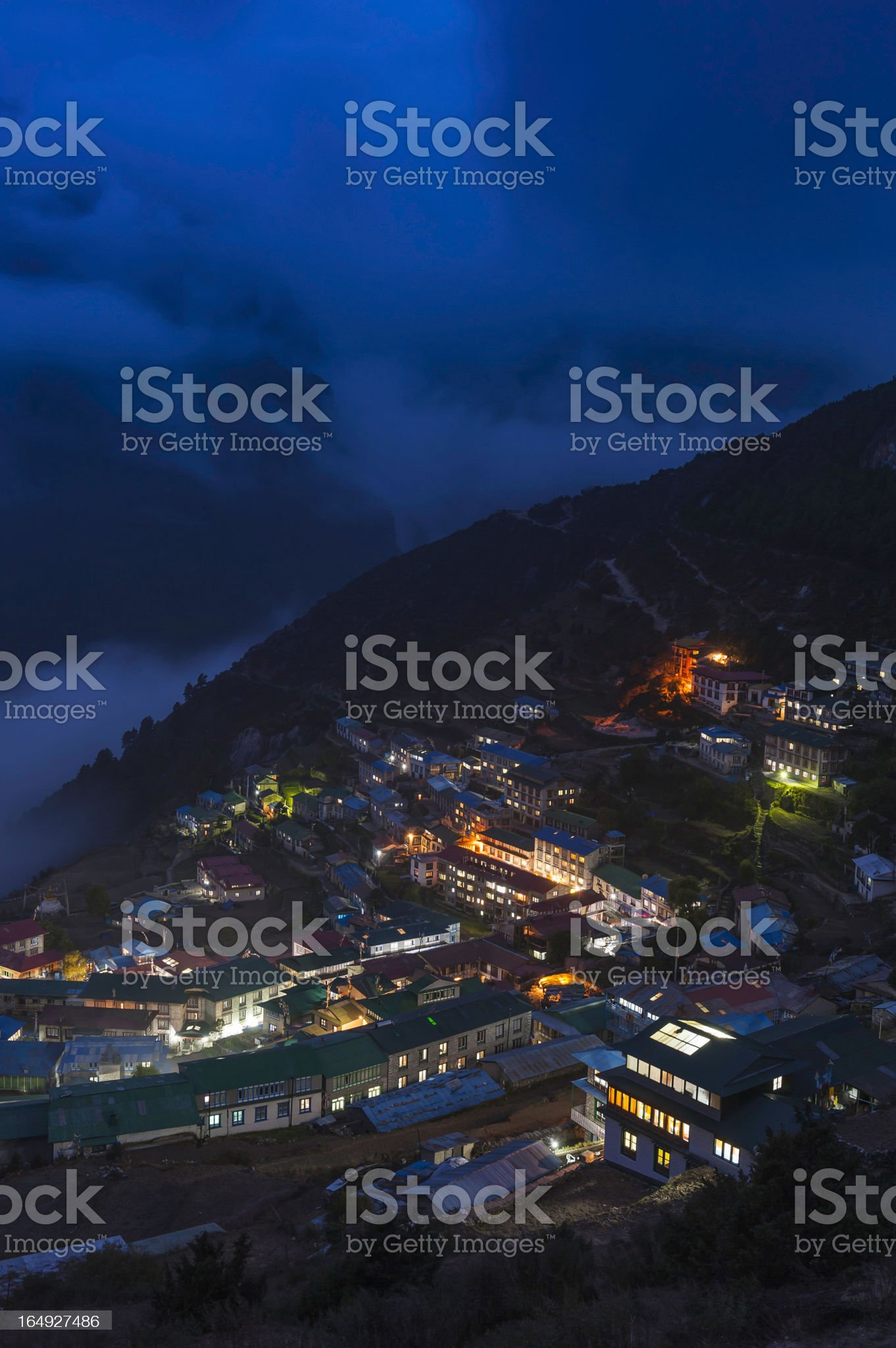 Himalayas lights glowing in Namche Bazaar at night Nepal royalty-free stock photo