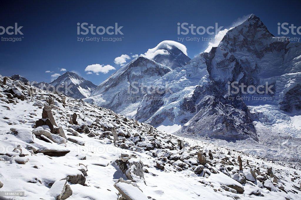 Himalayas mountain range on beautiful sunny day stock photo