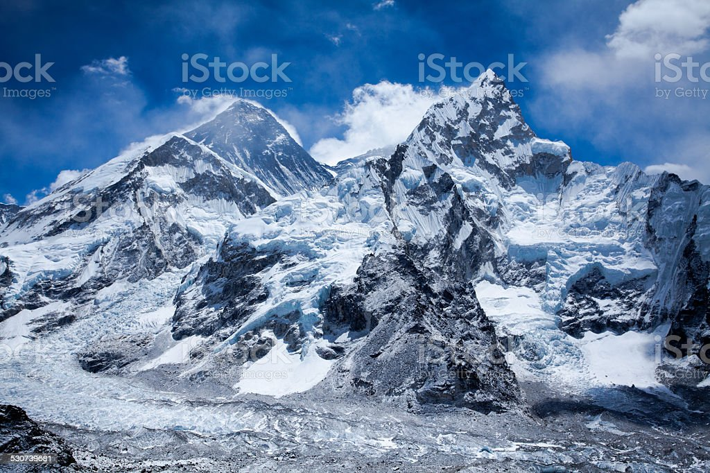 Himalayas mountain range with Mt Everest stock photo