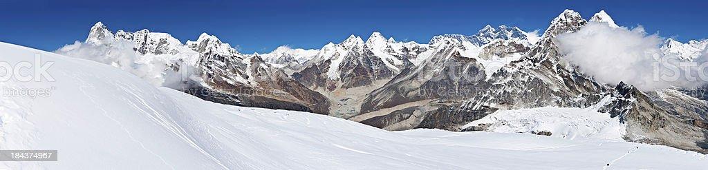 Himalayas Mt Everest mountain peaks panorama snowy summits Nepal royalty-free stock photo