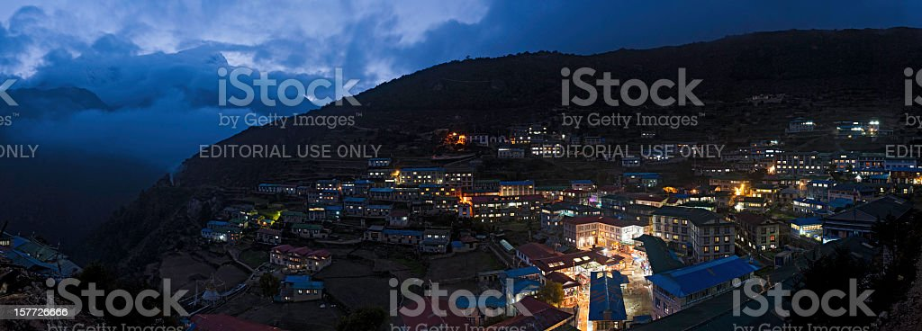 Himalayas Namche Bazaar illuminated night Nepal stock photo