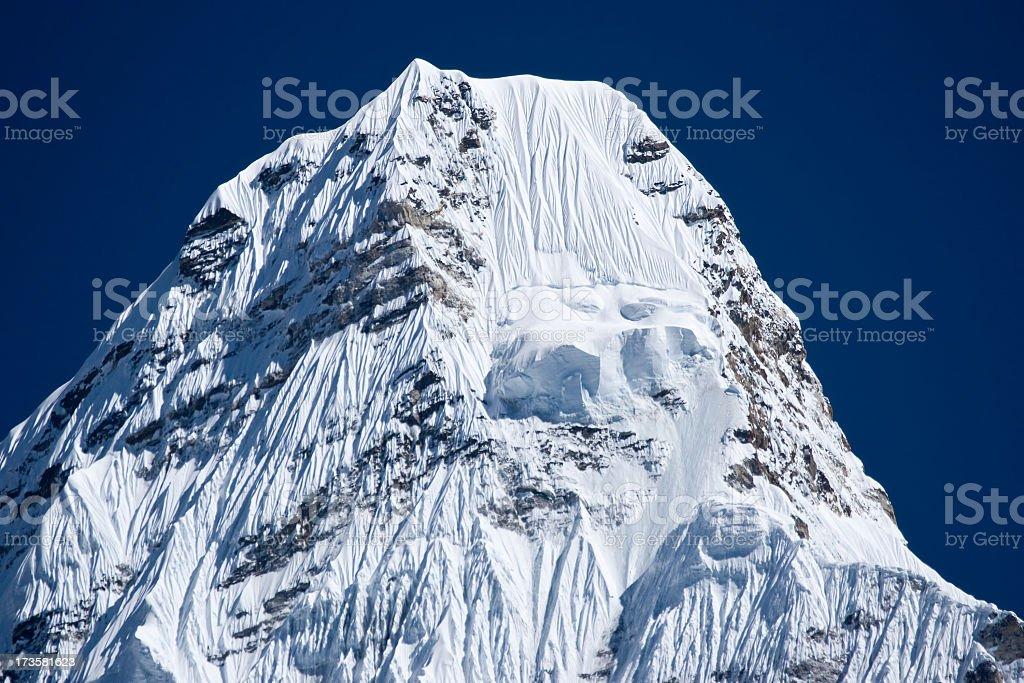 Himalayas, Nepal. Ama Dablam Summit (6812m) Great details! royalty-free stock photo