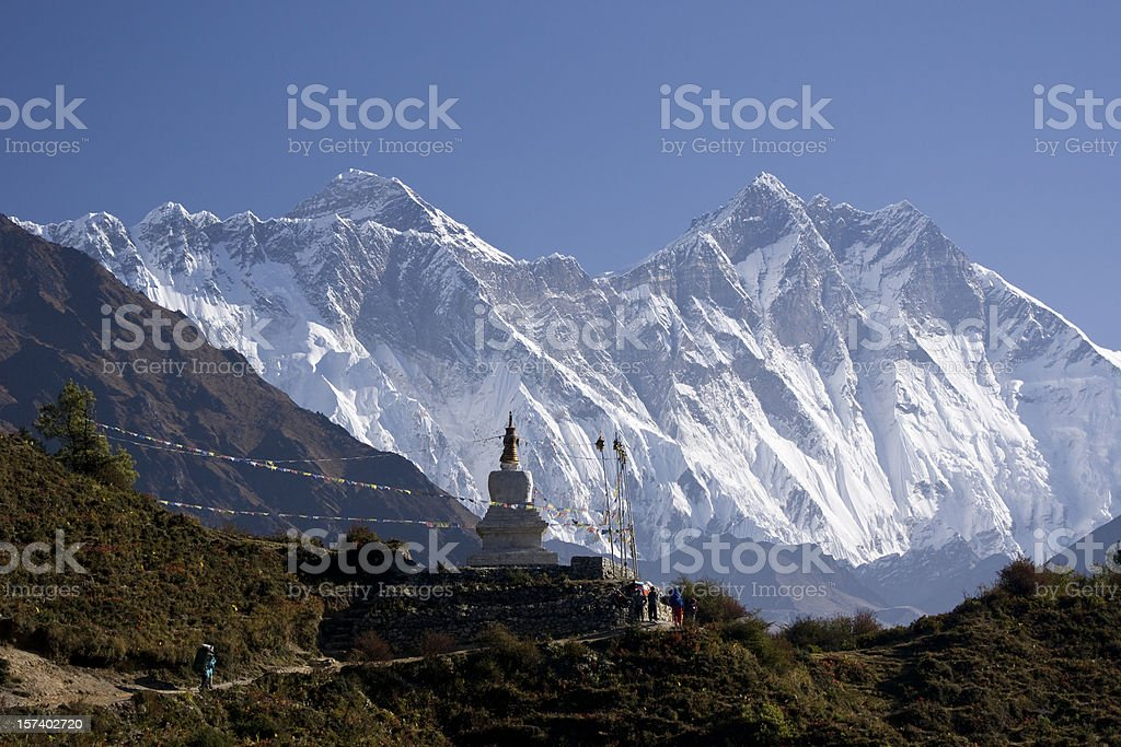 Himalayas Nepal. Everest and Lhotse. Trekking. Great details! stock photo