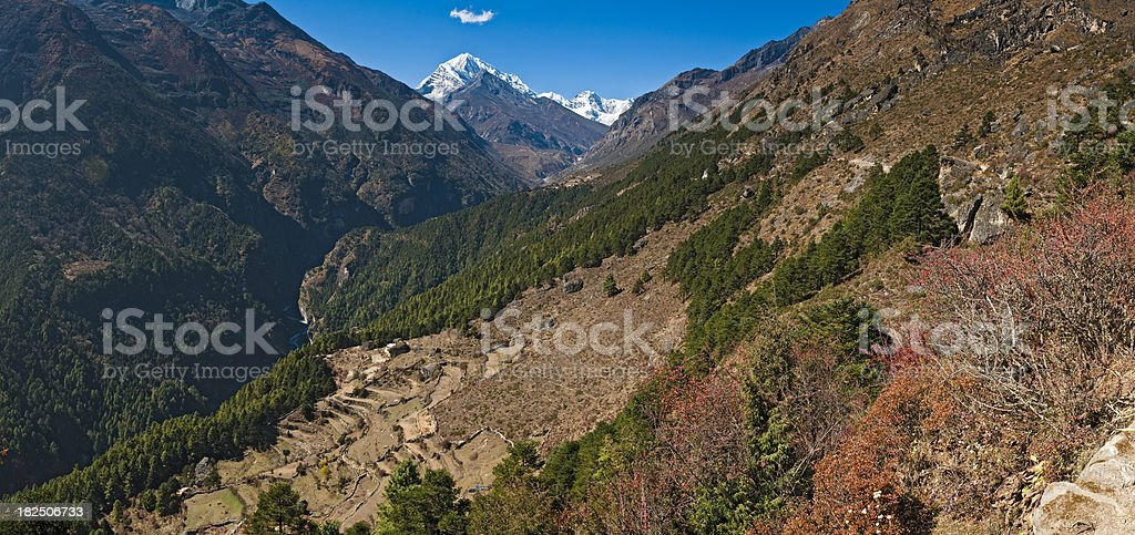 Himalayas Nepal Thame trading route to Tibet from Namche Bazar stock photo