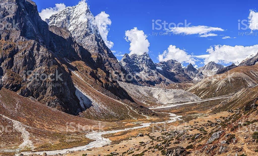 Himalayas panorama 50MPix- Cholatse peak on the left side royalty-free stock photo