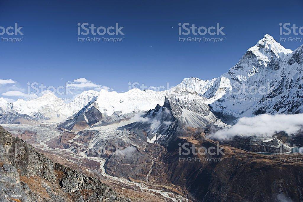 Himalayas panorama - Makalu and Ama Dablam royalty-free stock photo