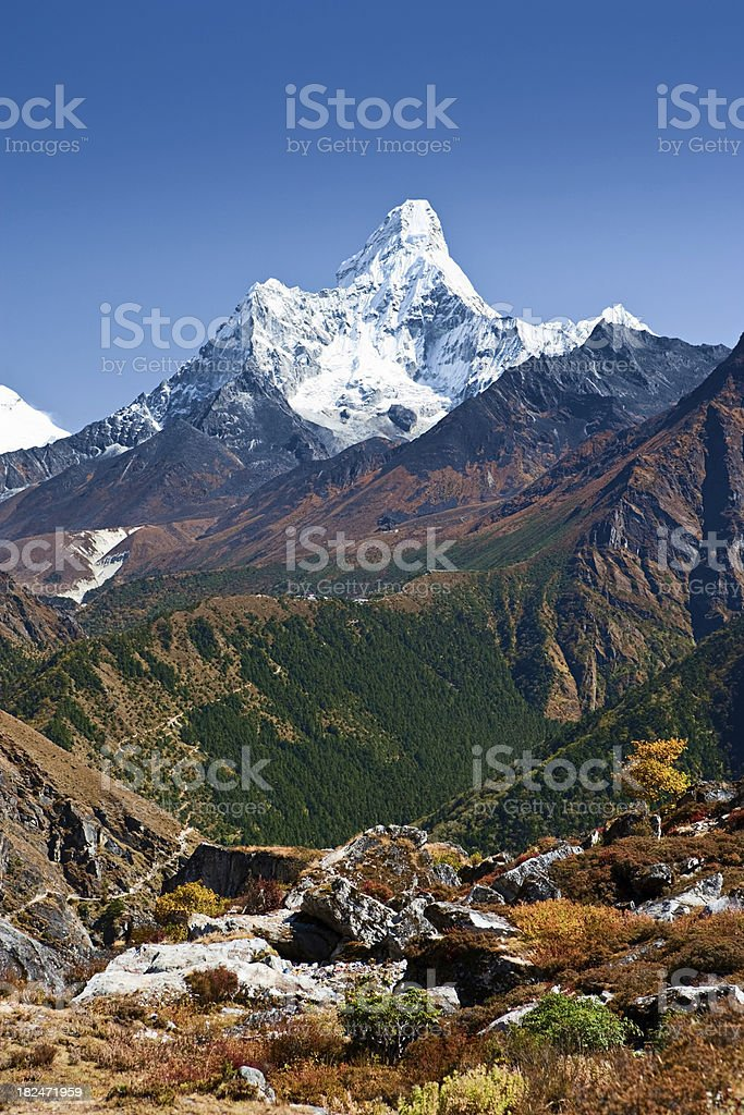 Himalaya's panorama - Mount Amadablam royalty-free stock photo