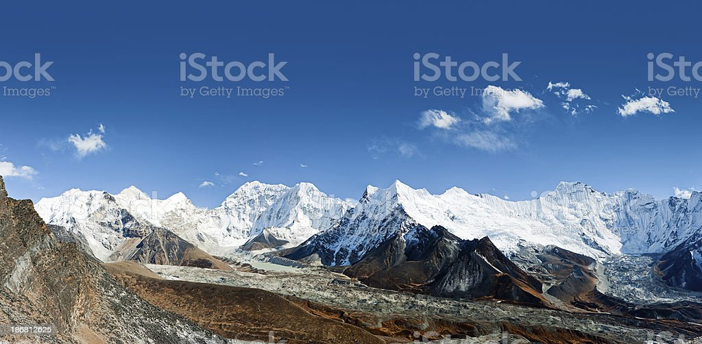 Himalayas panorama - Mt Makalu on the left side royalty-free stock photo