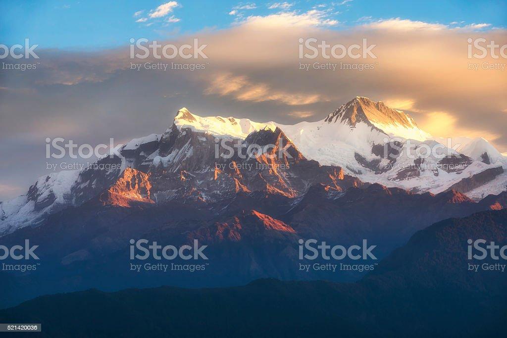 Himalayas range on sunrise from Sarangkot, Nepal stock photo