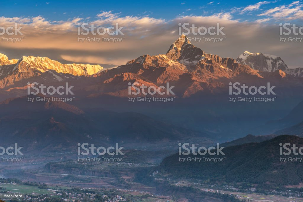 Himalayas range on sunrise from Sarangkot Nepal stock photo