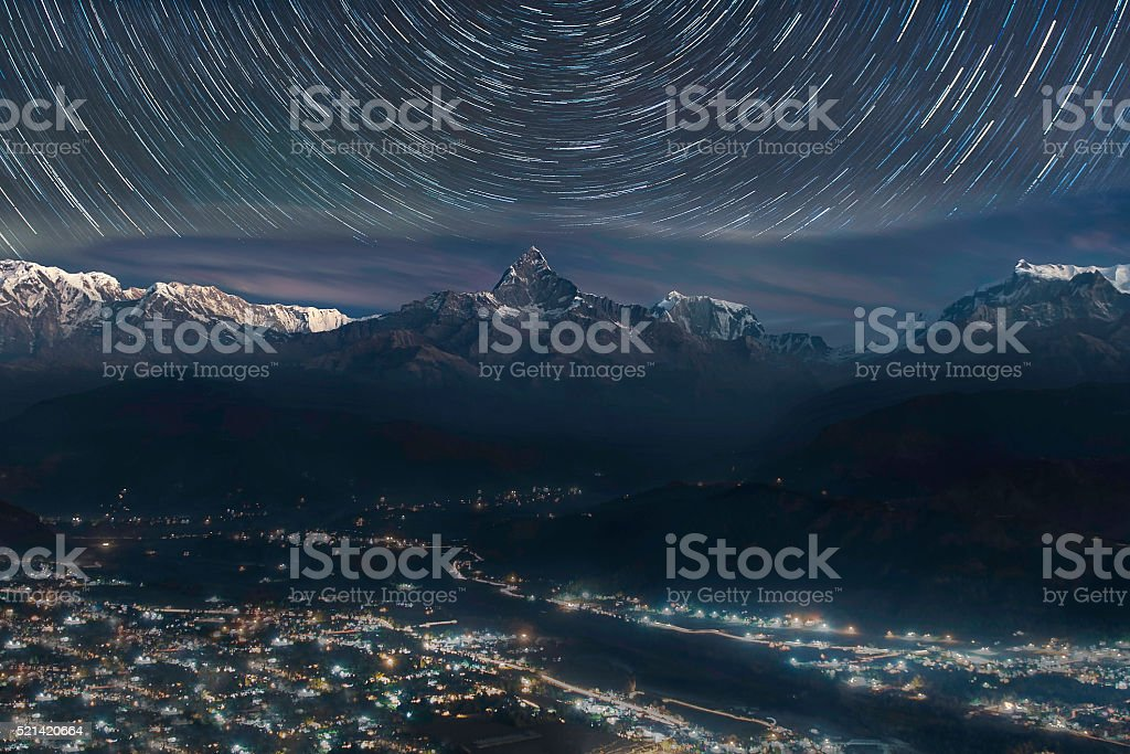 Himalayas range with startrial from Sarangkot Nepal stock photo