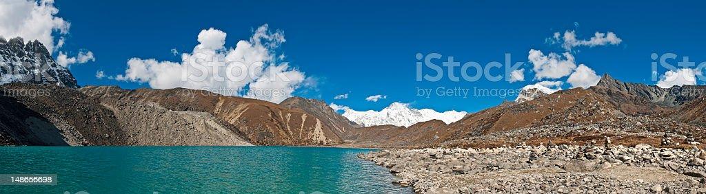 Himalayas vibrant turquoise waters Gokyo Lake Cho Oyu panorama Nepal royalty-free stock photo