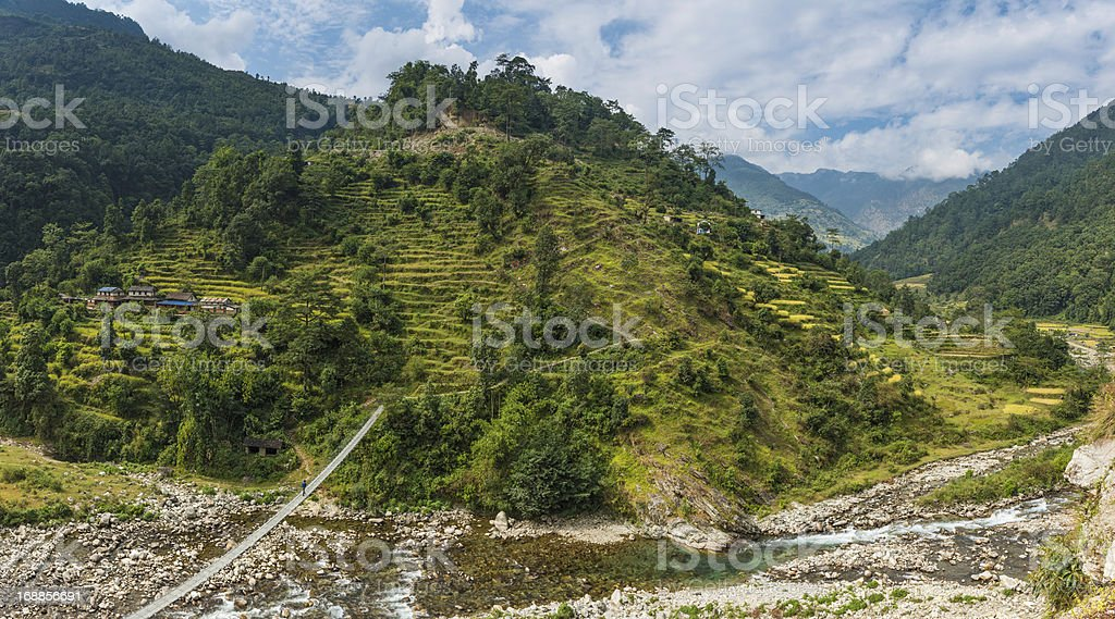 Himalya hills rope bridge canyon terraced fields farms Nepal stock photo
