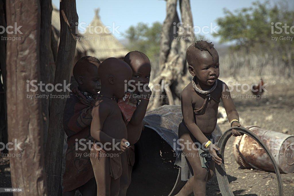 Himba children playing royalty-free stock photo