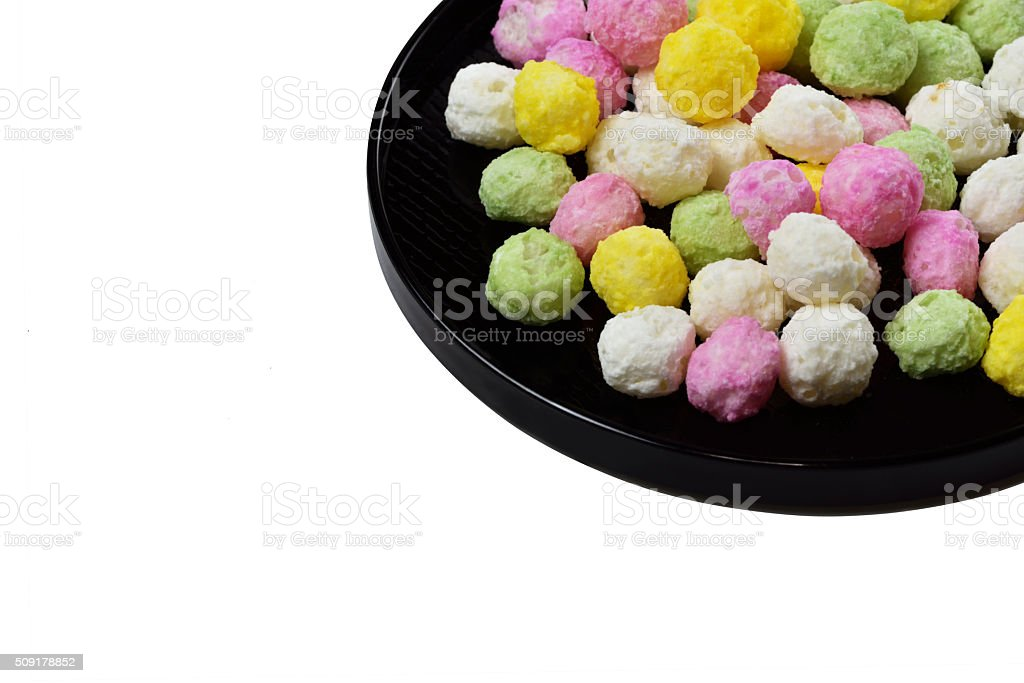 Hina arare were piled in a black bowl stock photo