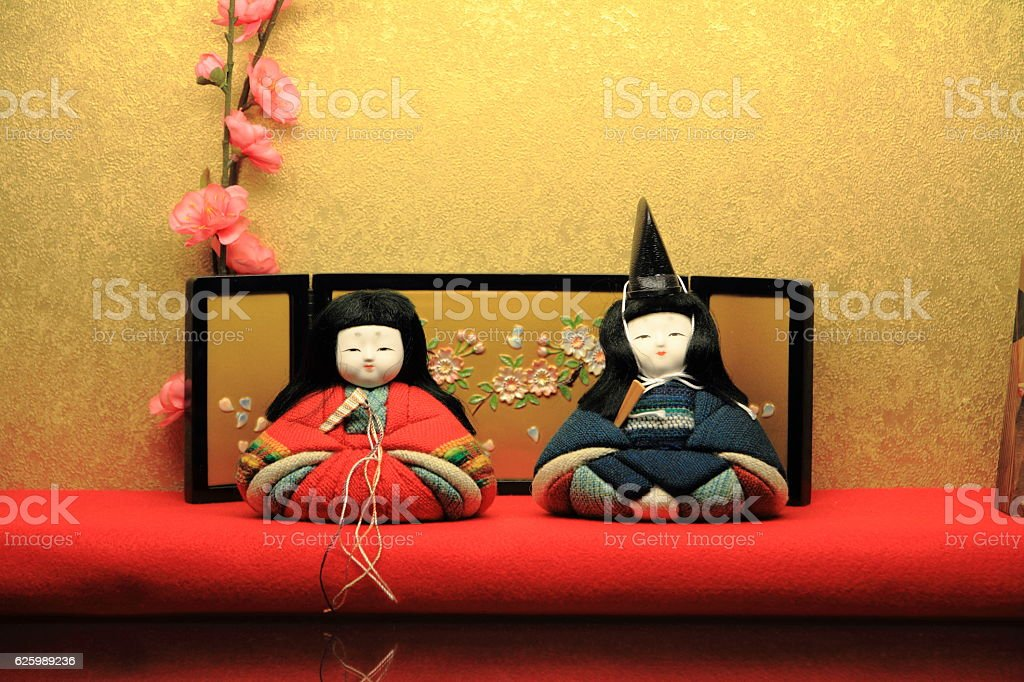 Hina doll (Japanese traditional doll) to celebrate girl's growth stock photo