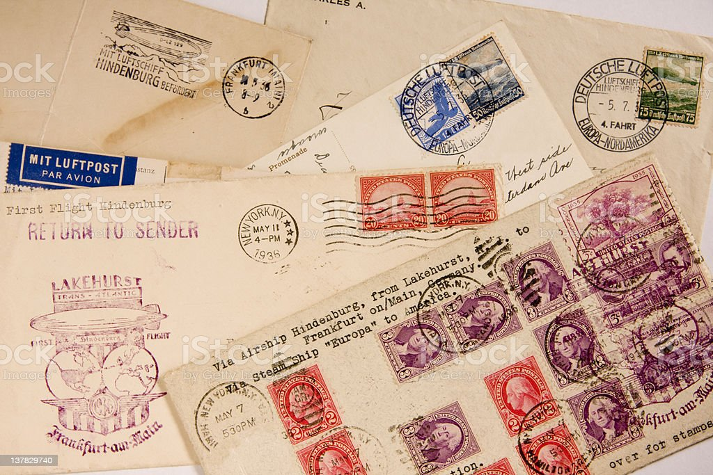 Hindenburg air mail royalty-free stock photo