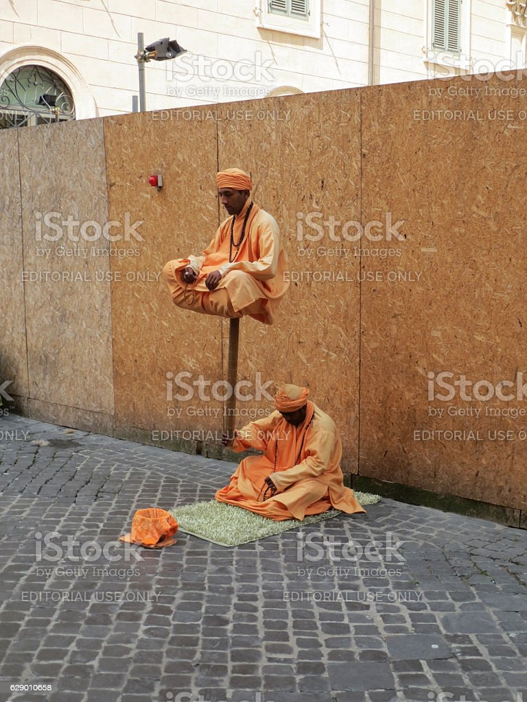 Hindu artists performing at street of Rome stock photo