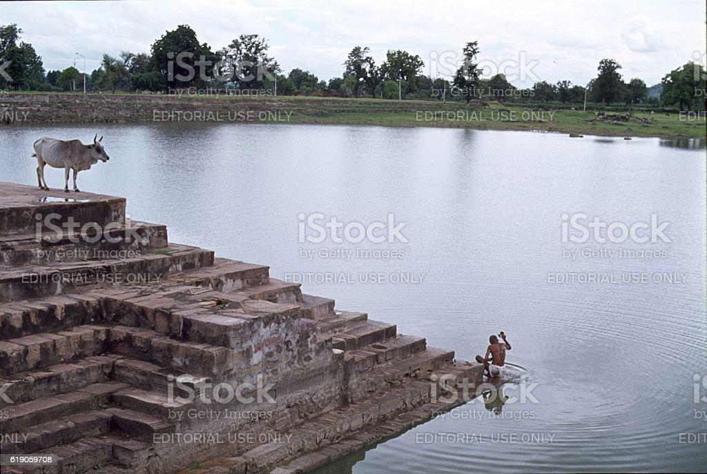 Hindu cleaning place, Madhya Pradesh, India stock photo