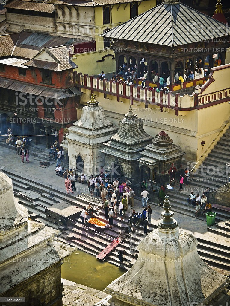 Hindu Cremation at Pashupatinath Temple Kathmandu stock photo