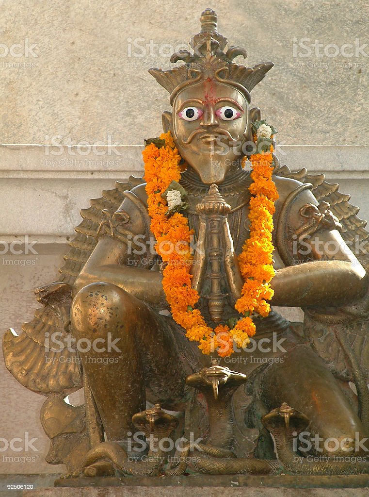 Hindu deity in front of temple in Rajasthan,India stock photo