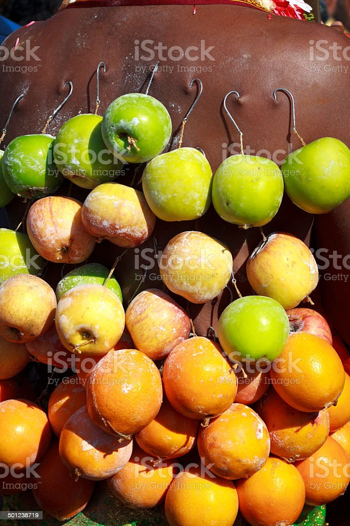 Hindu devotee with piercing of fruits stock photo