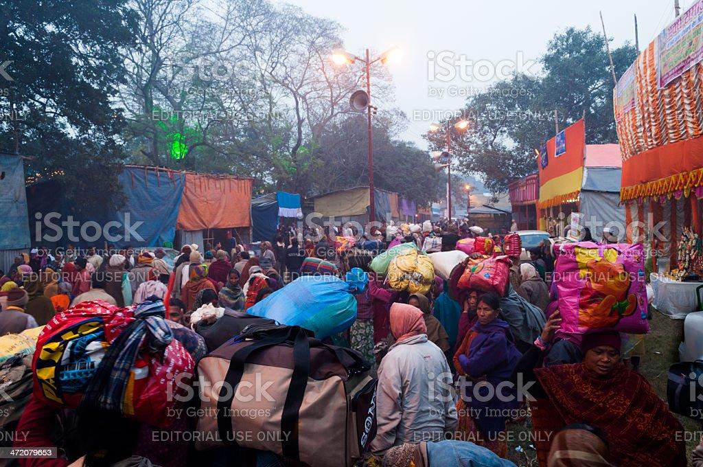 Hindu devotees , Babughat, Kolkata stock photo