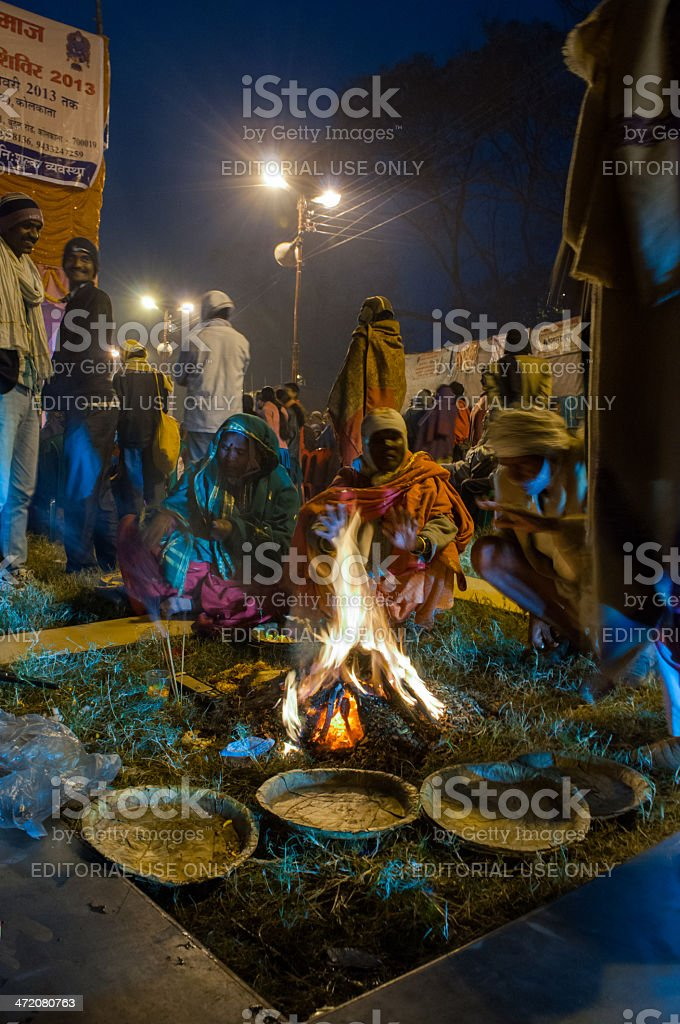 Hindu devotees , Babughat, Kolkata royalty-free stock photo