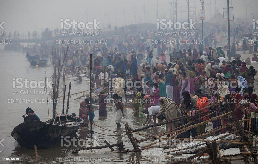 Hindu Devotees walk stock photo