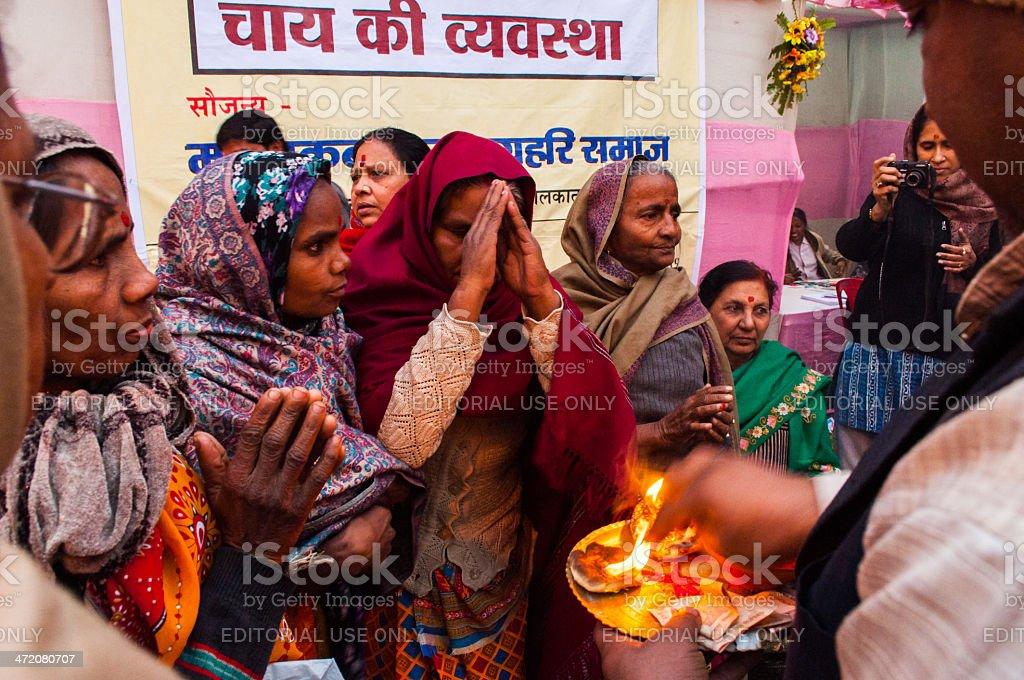 Hindu Female devotees , Babughat, Kolkata stock photo
