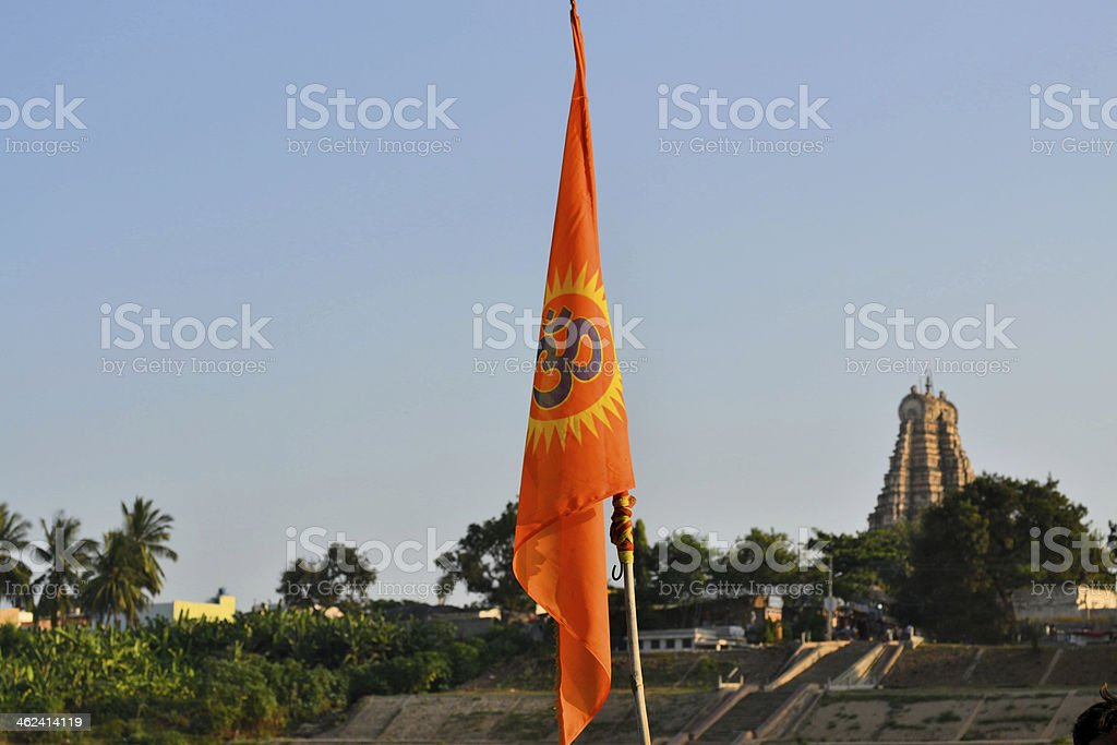 Hindu flag in front of temple royalty-free stock photo
