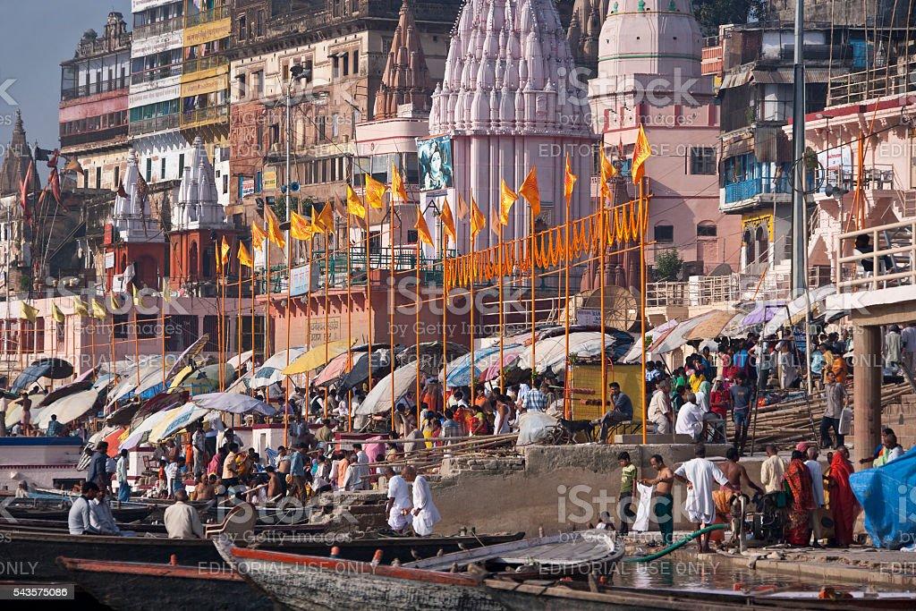 Hindu Ghats on the River Ganges - Varanasi - India stock photo